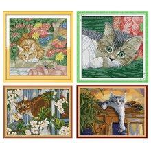 Наборы для вышивки крестиком joy sunday с принтом кошки и стрекозы