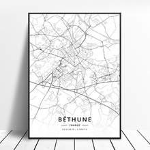 Poster do mapa da arte da lona de paris bordeaux metz frança