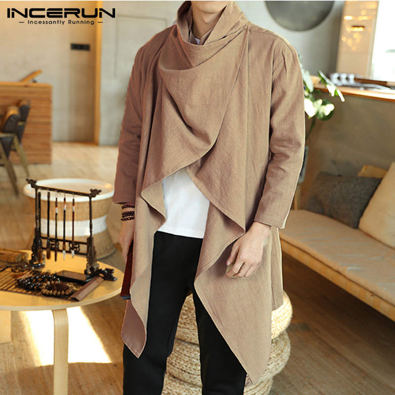 INCERUN Vintage Men Coats Cotton Turtleneck Irregular Trench Ponchos Casual Long Sleeve Cloak Solid Street Jackets Men Outerwear