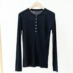 Женский вязаный тонкий свитер с круглым вырезом, облегающая блузка с длинным рукавом и пуговицами, весна-лето 2020