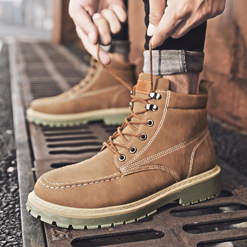 Men Shoes Martin Boots Leather British Style Winter Men Casual Shoes Retro Tooling Boots Male Felling Motorcycle Army Work Boots