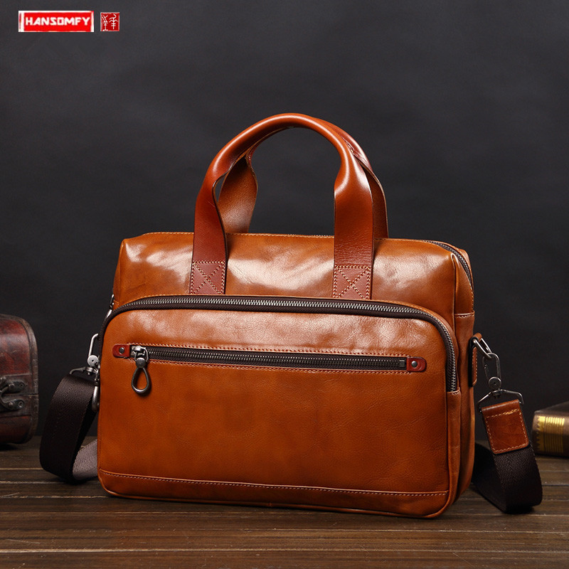 Business Handbag Men's Leather Briefcase Fashion Casual Shoulder Messenger Computer Bag Large Capacity Leather Travel Bags 2020