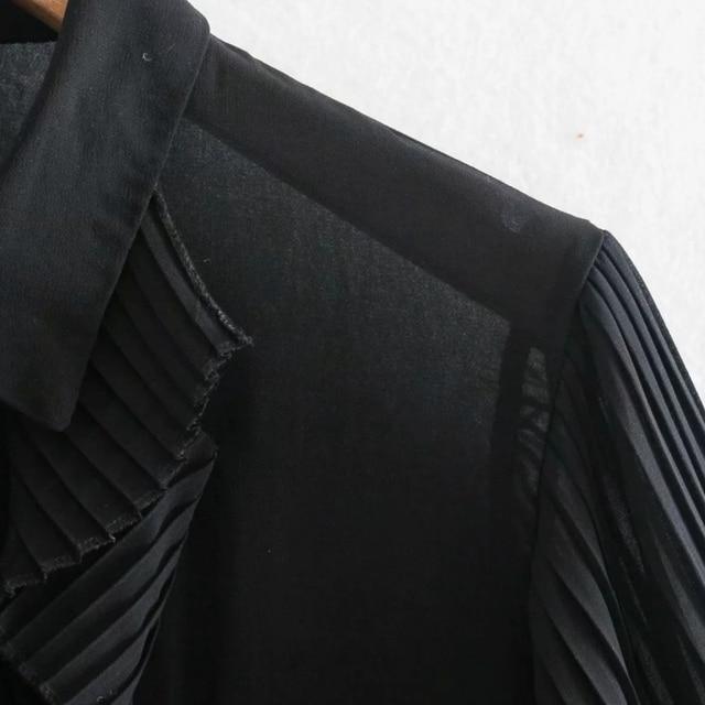 Spring Women Cascading Ruffle Black Chiffon Shirt Female Long Sleeve Blouse Office Lady Loose Tops Blusas S8638 4