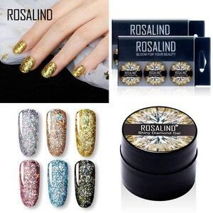 Набор алмазных гель-лаков ROSALIND, Платиновый лак, гибридный штамп, акриловый набор для ногтей, все для маникюра, краски, Гель-лак для ногтей, 6 ш...