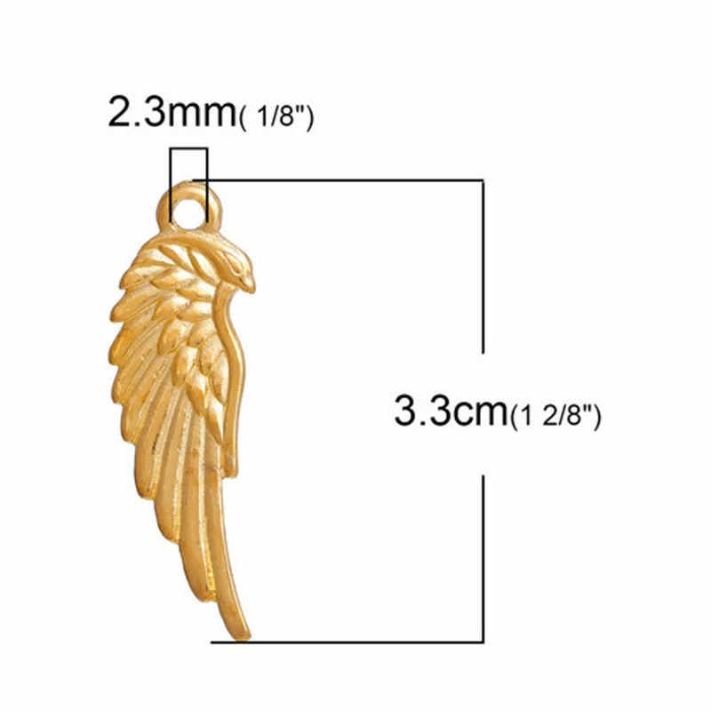 DoreenBeads אופנה אבץ מבוסס סגסוגת תליוני אגף זהב צבע תכשיטי DIY ממצאי אביזרי קסמי חם רכיבים, 1 חבילה