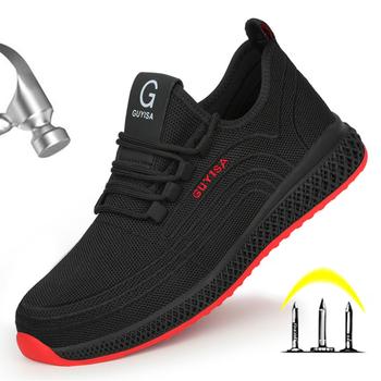 Męskie buty robocze bhp męskie buty odkryte buty wojskowe stalowe Toe buty robocze dla mężczyzn buty odporne na przebicie obuwie ochronne 2020 tanie i dobre opinie yadibeiba Pracy i bezpieczeństwa CN (pochodzenie) Mesh (air mesh) ANKLE Stałe Dla dorosłych Cotton Fabric Okrągły nosek