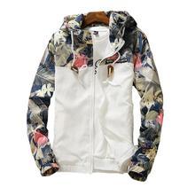 LINGDENG Floral Bomber Jacket Men Hip Hop Slim Fit Flowers Pilot Bomber Jacket Coat Mens Hooded Jackets Plus Size 4XL ,