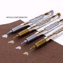 1/3/4 pçs/lote Canetas de Tinta Permanente Marcador Ouro/Prata Para Estudantes de Desenho Suprimentos DIY Metálico Artesanato Caneta Marcador À Prova D' Água