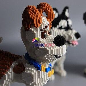 Image 4 - 2000 + pièces 16013 Mike chien blocs de construction diamant Micro petites particules orthographe jouet chien de compagnie bloc modèle jouets pour enfants cadeaux