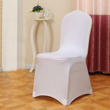 1Pcs Universal Flat Arched Front Covers Wedding White Chair Covers for Reataurant Banquet Hotel Dining Party Lycra Spandex Chair(China)