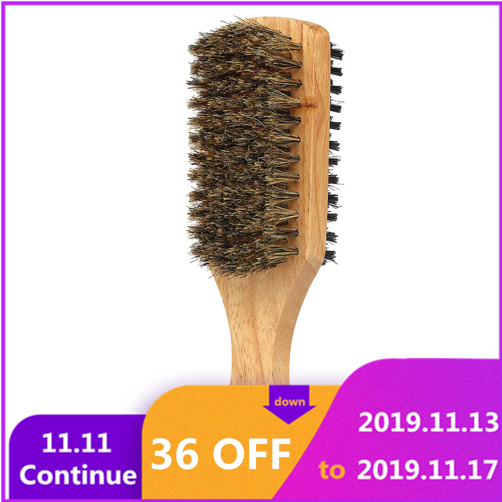 Men's Beard Brush Double-sided Facial Hair Brush Shaving Comb Male Mustache Brush Solid Wood Handle Optional Size Shaving Brush