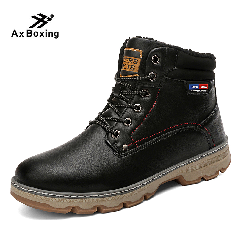 Autumn AX BOXING Winter Men's Boots Fashion Motorcycle Boots Outdoor Working Snow Boots Men Shoes Non-slip Waterproof Snow Boots