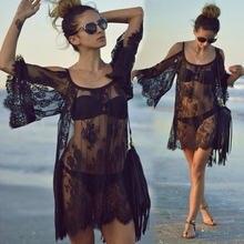 Летняя женская пляжная одежда Обложка для бикини кружевная сетчатая