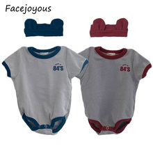 Newborn Bodysuits Infants Children's Clothes Cute Toddler Baby Girl Bodysuit Kids Boys Short Sleeve Jumpsuit + Bear Ear Headband(China)