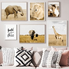 Lion Horse Elephant Giraffe Wall Art Print Canvas Painting Nordic Posters And Prints Animals Pictures For Living Room Decor