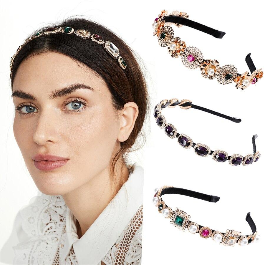 Haimeikang Fashion New Ladies Headband Rhinestone Gemstone Pearl Bezel Headdress 1pc Women Elegant Retro Hair Accessories