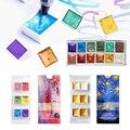 6/12 цветов однотонные перламутровые/драгоценные камни/Звездные акварельные краски текстурированный перламутровый пигмент металлический б...