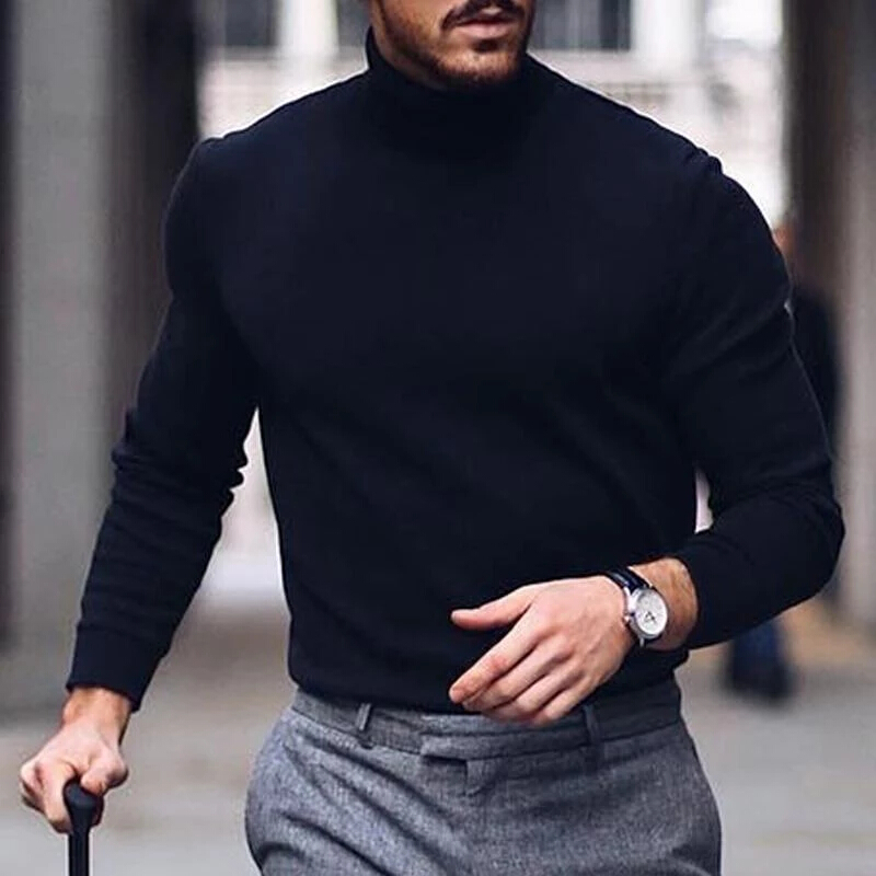2019 New Autumn And Winter Men's Sweater Men's Turtleneck Solid Color Casual Slim Sweater Men's Brand Pullovers