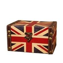Maleta decorativa de almacenamiento Vintage pequeña caja de madera Retro caja de almacenamiento de escritorio caja de almacenamiento acabado Muhe joyero