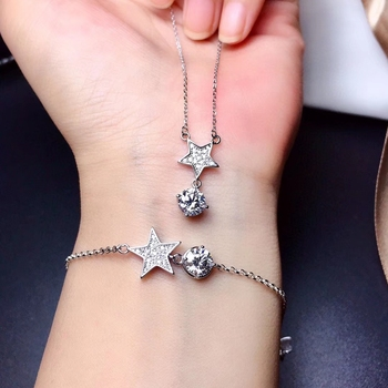 star style shinning moissanite  bracelet and necklace jewelry set 925 silver fine jewelry shiny better than diamond party gift