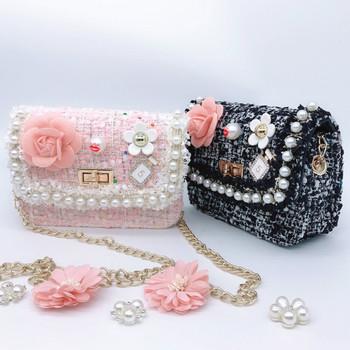 Kobiece mini-łańcuch torby Crossbbody wysokiej jakości torby z dzianiny w kwiaty perłowe torby na ramię małe torby etui na telefon torebki damskie tanie i dobre opinie SHISHI Flap Torby kurierskie CN (pochodzenie) Hasp SOFT NONE Na co dzień Poliester Wszechstronny Dziewczyny Stałe Pojedyncze