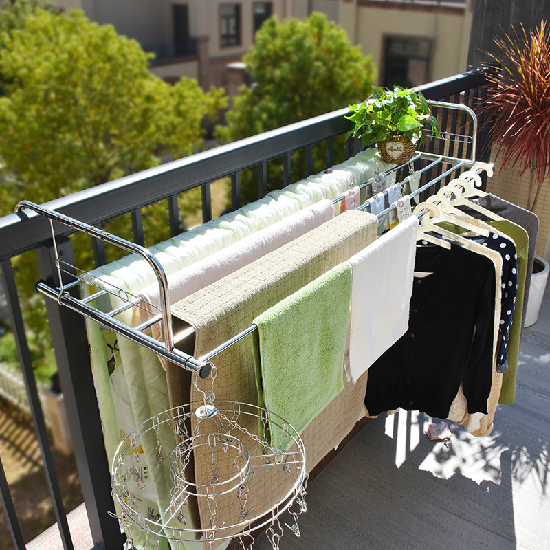 Balcony Drying Shelf Towel Quilt Stand Multiuse Folding Window Drying Rack Stainless Steel Hanging Drying Rack