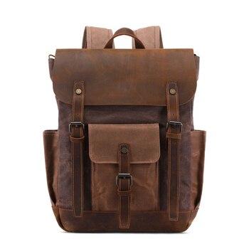 Nesitu High Quality Casual New Vintage Coffee Grey Army Green Cyan Wax Canvas 14'' Laptop Women Men Backpacks Travel Bags M0013