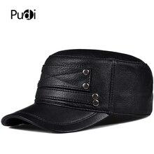 Pudi man genuine leather cap hat male winter army military baseball caps hats black brown HL818
