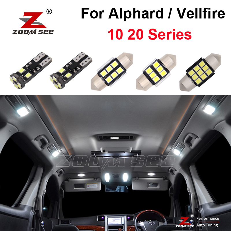 Светодиодный светильник без ошибок для Toyota Alphard Vellfire, идеальный белый комплект для внутреннего купола и номерного знака, 10, 20 серий (2003-2014)