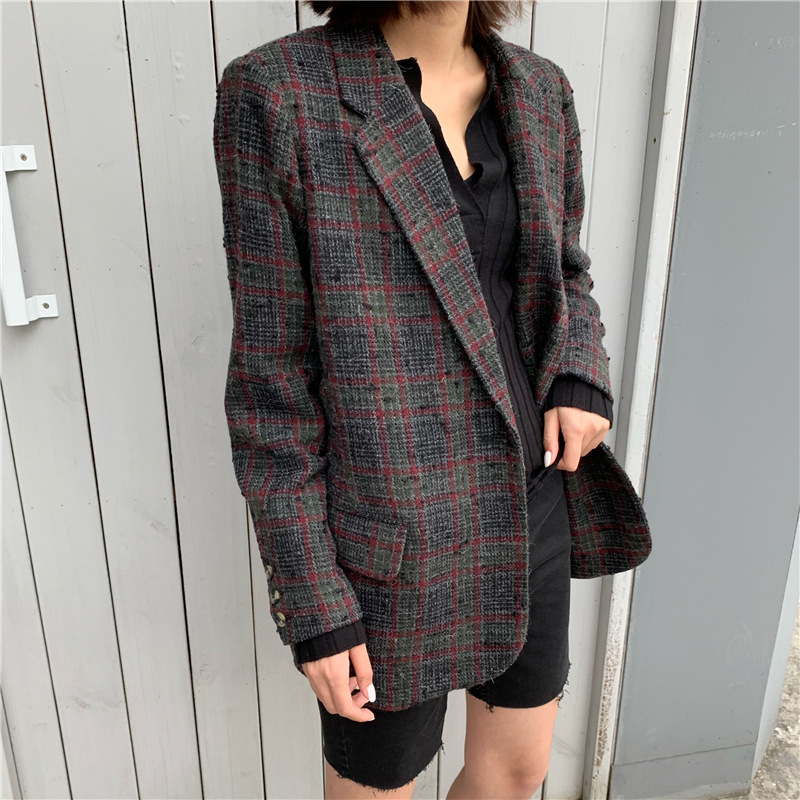 Women Coat 2019 New Tweed Plaid One Button Wool Blazer
