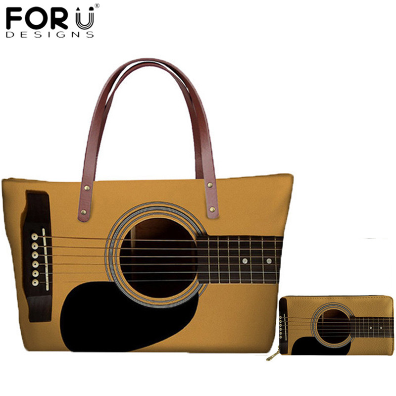 FORUDESIGNS New Fashion Women's Handbags Guitar Lover 3D Print Large Capacity Tote Bags for Female Shoulder Bag Travel Beach Bag