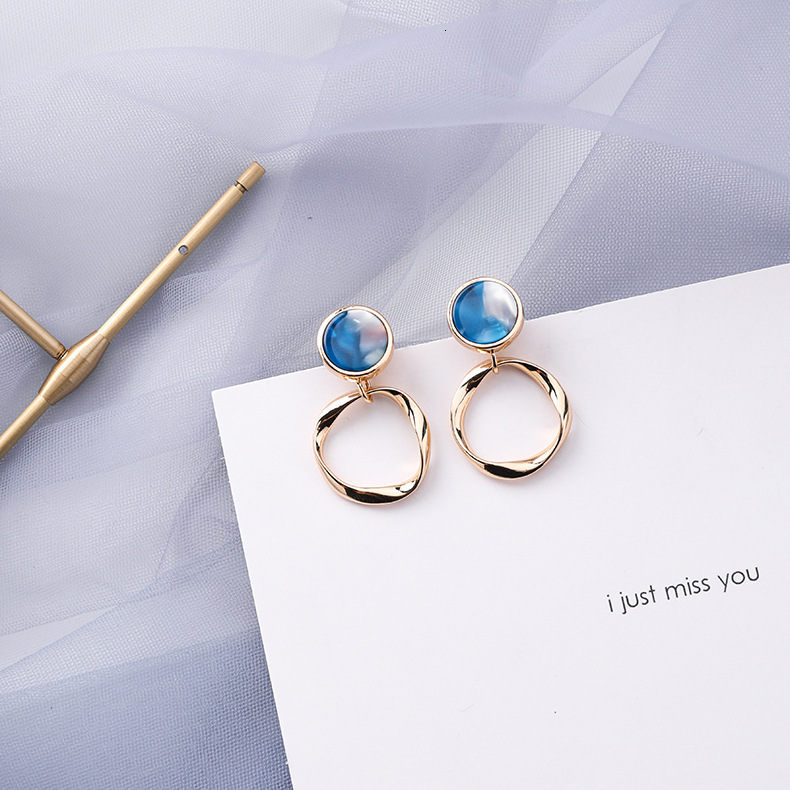Hf2d9aad9e6fb44158dcb28b6c6f72df6A - Summer Blue Geometric Acrylic Irregular Hollow Circle Round Square Drop Earrings for Women Metal Bump Party Beach Jewelry