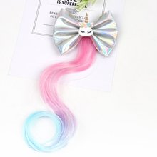 ncmama Unicorn Hair Bows for Girls Clips with Long Wig 3.5 Inch Leather Bowknot Hairpin Barrettes Kids Accessories