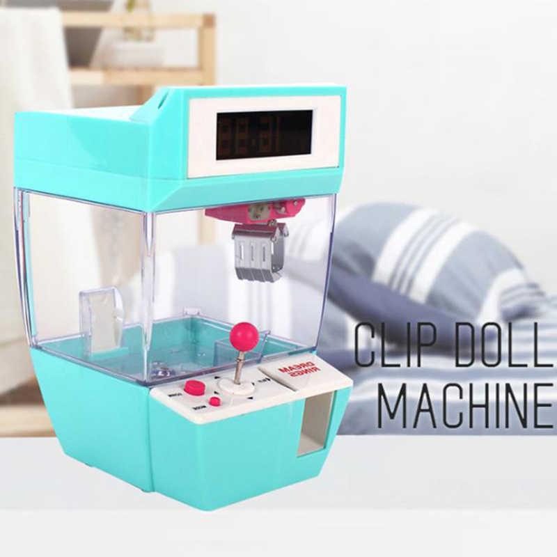 Divertidos juegos para niños que funcionan con monedas Mini garra muñeco colgante máquina muñecas juguete de atrapar grúa máquinas caramelo alarma reloj juego
