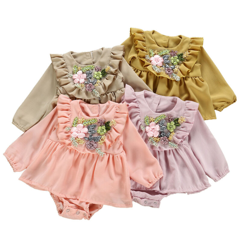 Hot Summer Baby Girl Ruffle Floral One-Pieces Bodypsuit Newborn Baby Clothes Toddler Princess Dress Outfit Set