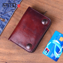 AETOO Genuine Crazy Horse Leather Men Wallets Vintage Trifold Wallet Zip Coin Pocket Purse Cowhide Leather Wallet For Mens aetoo crazy horse split leather men wallet vintage super thin leather small wallet phone purse male wallet handmade