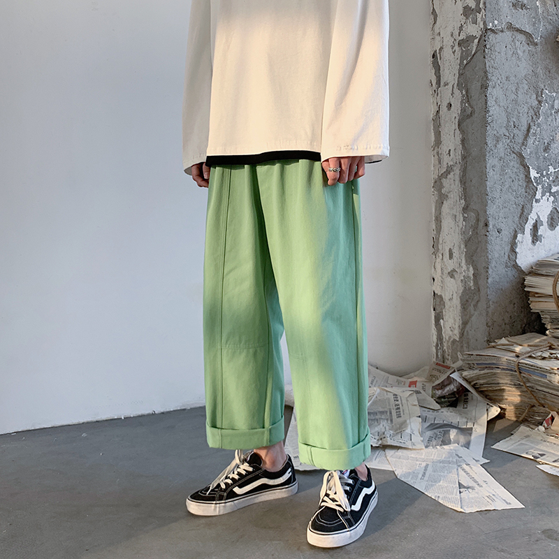 Cotton Straight Trousers Men's Fashion Solid Color Elastic Waist Casual Pants Men Streetwear Wild Loose Tooling Trousers Mens