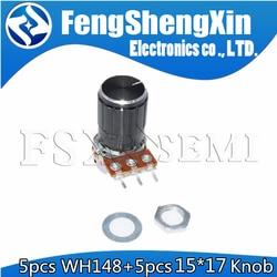 Партиями по 5 комплектов WH148 1-10K 20K 50K 100K 500K Ohm 15 мм 3 штифта линейный подшипник с коническим поворотный потенциометр резистор для Arduino с 15x17 ручк...