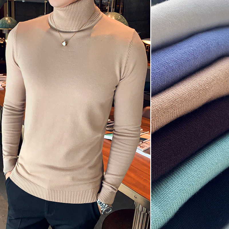 Winter Turtleneck Sweater Men's Slim Warm Fashion Solid Color Casual Knit Pullover Man Wild England Wind Sweater Male Clothes