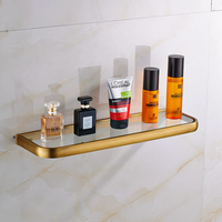 Antique Brass Wall Mounted Glass Commodity Shelf Bathroom Strong Shelf