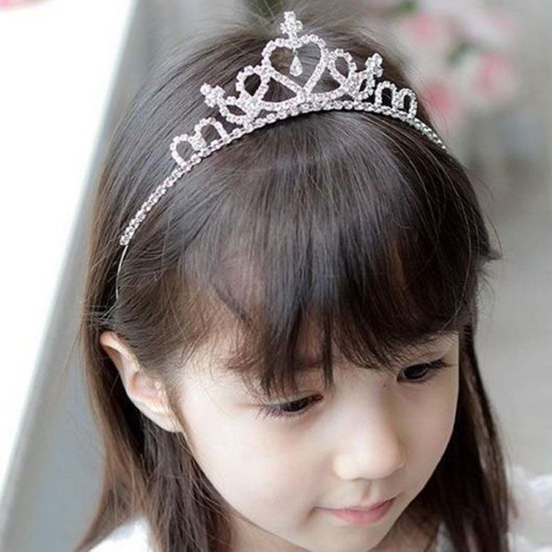 Lovely Girls Princess Bridal Crown Crystal Hoop Baby Crystal Tiara Hair Party Accessiories Kids Headband Hair Band Accessories