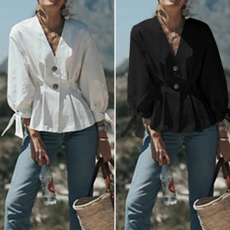 Women Tops Blouses ZANZEA 2020 Fashion Puff Sleeve V Neck Shirts Elegant Solid Cotton Slim Waist Tunic Blusas Chemise Plus Size
