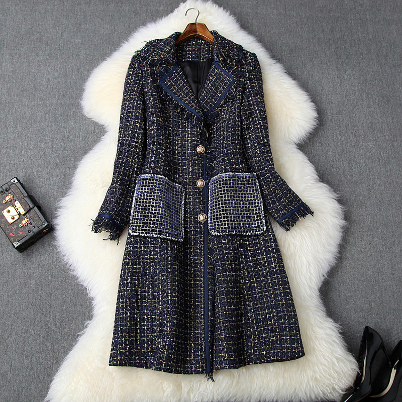 Women winter tweed coat gold line plaid notched collar single breasted gold button tassel overcoats big embroidery velvet pocket