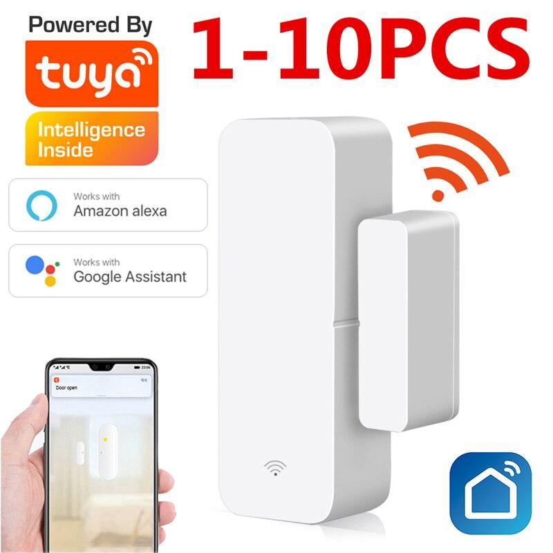 При заказе 1-10 штук Tuya Smart WiFi датчик для двери дверь открытой/закрытый детекторы магнитный переключатель окна сенсор умный дом безопасности ...