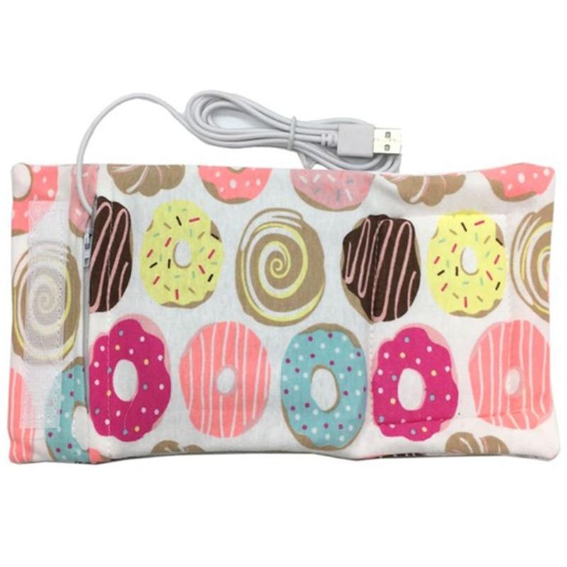 Usb подогреватель молока воды дорожная коляска изолированная сумка детская бутылочка для кормления подогреватель - Цвет: Doughnut pattern