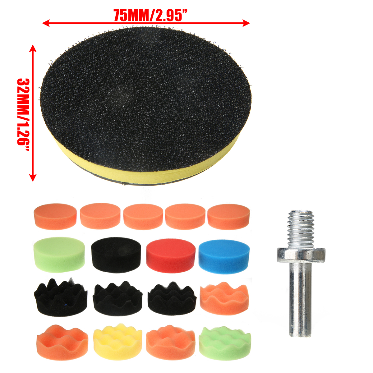 18Pcs Set Car Polishing Pad 3inch Sponge Buffing Waxing For Car Furniture Paint Polish Buffer Drill Wheel Abrasive Tools