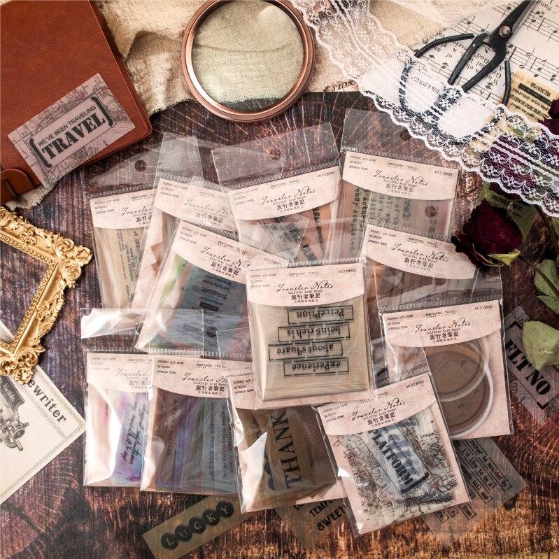 40pcs Retro Traveler Notes Series Bullet Journal Decorative Translucent Stickers Scrapbooking Stick Label Diary Stationery Album