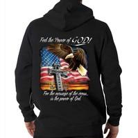 Feel The Power Of God USA American Flag Eagle Freedom Hooded Sweatshirt Hoodie