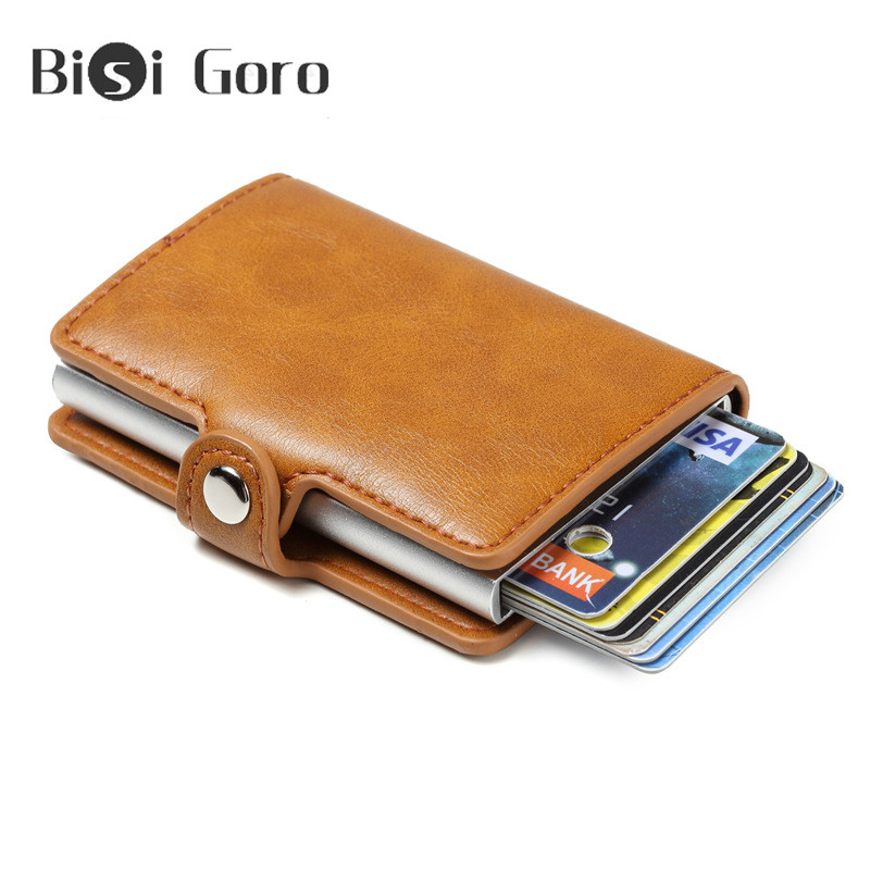 BISI GORO Unisex RFID Blocking Business Card Holder Aluminium Box Buckle Vintage PU Leather Metal Men Solid Slim ID Card Case