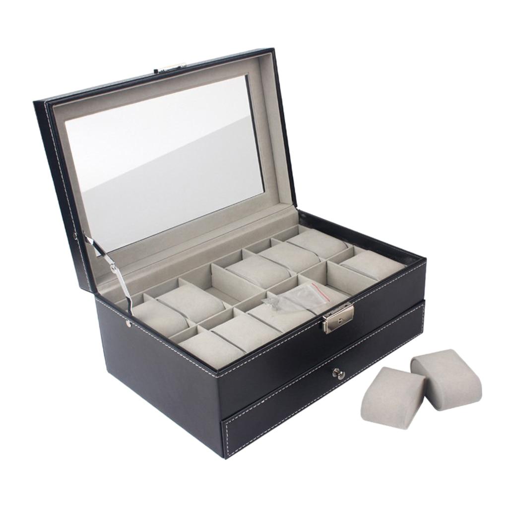 Moda 12 slot de couro relógio caixa